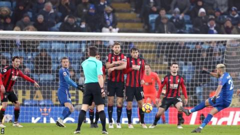 Riyad Mahrez's free-kick was scored in the sixth minute of stoppage time