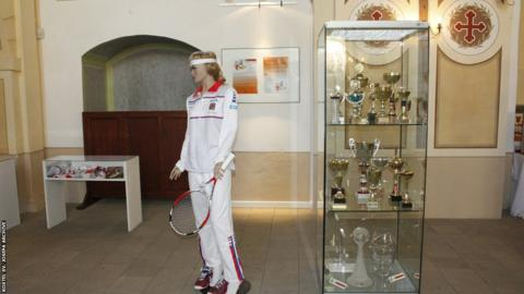Kvitova's trophies and kit on display in her home town in 2015