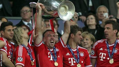 Franck Ribery (centre) holds aloft the Champions League trophy after Bayern Munich beat Borussia Dortmund in the 2013 final