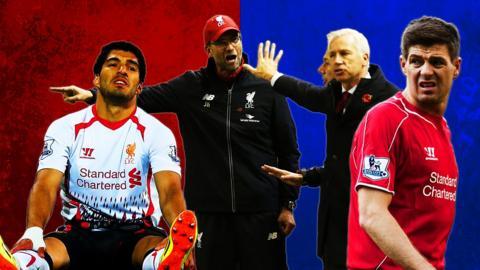 Luis Suarez, Jurgen Klopp and Steven Gerrard