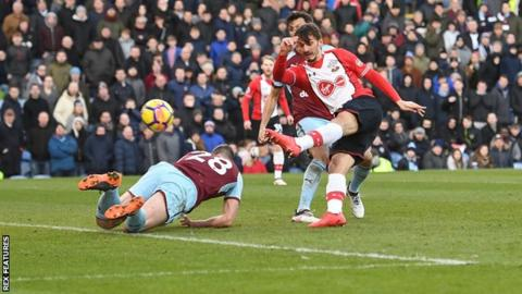 Gabbiadini lashes the ball past Burnley keeper Nick Pope