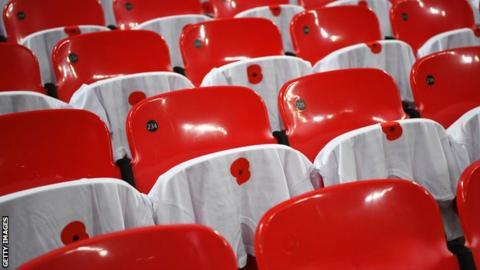 Poppies on seats at England v Scotland