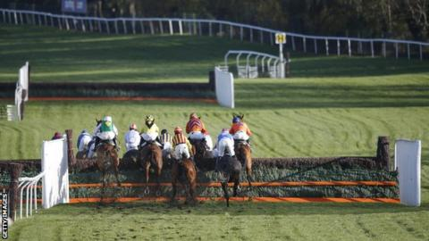A general view from behind as the field jump a fence during a race at Cheltenham racecourse