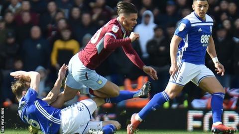 Birmingham City midfielder Maikel Kieftenbeld fouls Aston Villa captain Jack Grealish