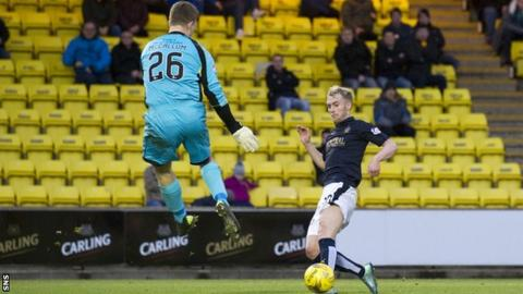 Craig Sibbald scores for Falkirk against Livingston