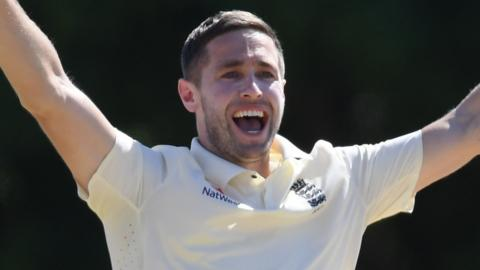 Chris Woakes strikes for England against a Cricket West Indies President's XI
