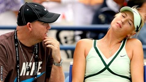 Michael Joyce and Maria Sharapova pictured during a match