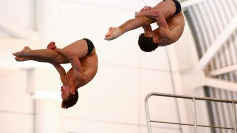 Tom Daley (left) partnering Daniel Goodfellow at the National Diving Cup in Southend