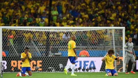 Brazil players react to losing 7-1 to Germany