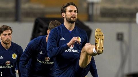 Scotland defender Charlie Mulgrew trains in Lima