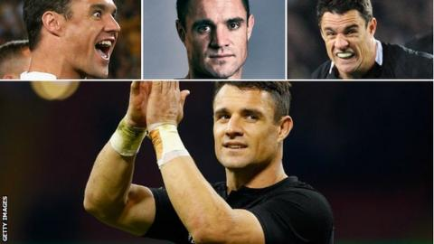 (main pic) Dan Carter applauds supporters after a New Zealand victory