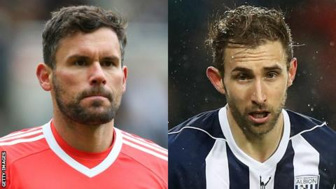 Ben Foster and Craig Dawson in action for West Bromwich Albion