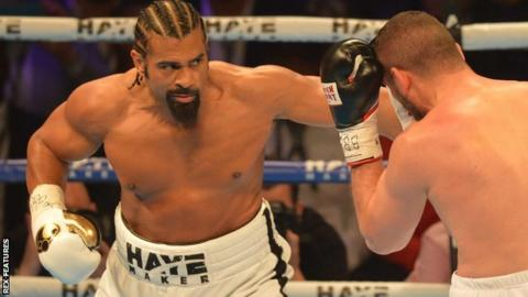 David Haye in action against Arnold Gjergjaj