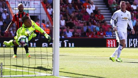 Wayne Rooney scores for Manchester United against Bournemouth