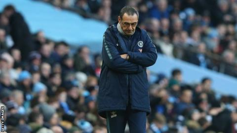 Chelsea boss Maurizio Sarri looks down at the ground during his side's 6-0 defeat by Manchester City