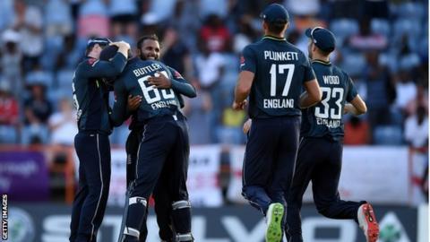 England celebrate Rashid wicket