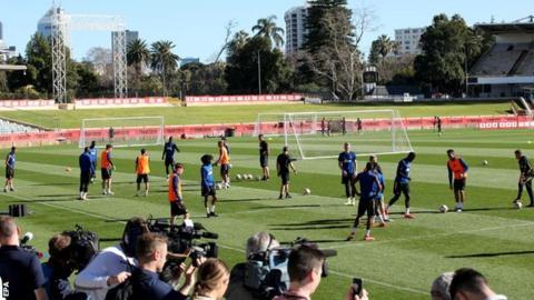 The Manchester United players train in Perth, Australia