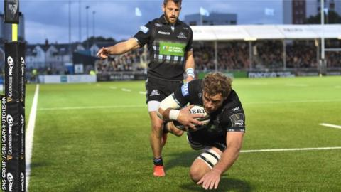 Callum Gibbins scored the first of Glasgow's three tries as they beat Munster