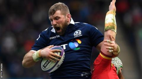John Barclay takes a line-out in Scotland's win over Wales in 2017
