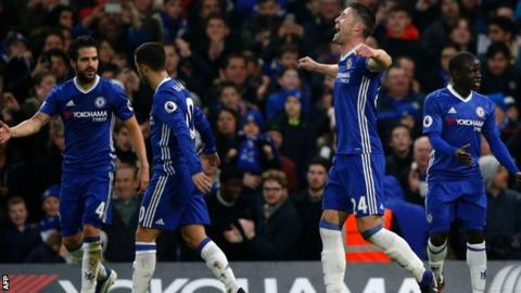Chelsea's Gary Cahill celebrates his goal