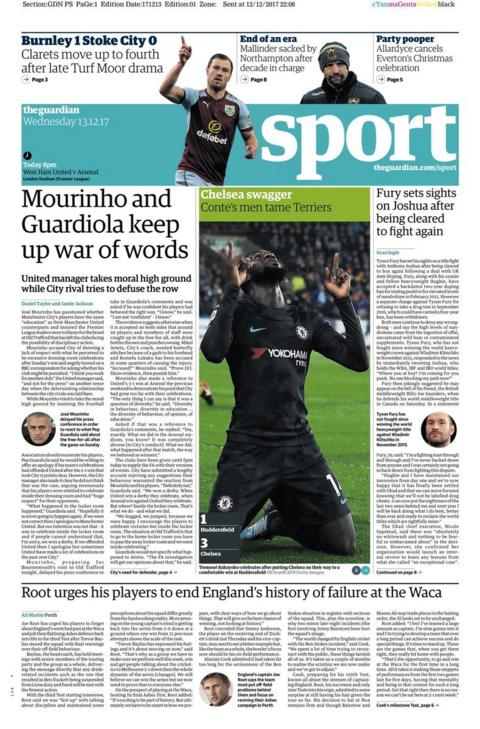 Chelsea's win at Huddersfield is the main picture in the Guardian