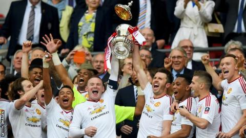Manchester United celebrating FA Cup win in May