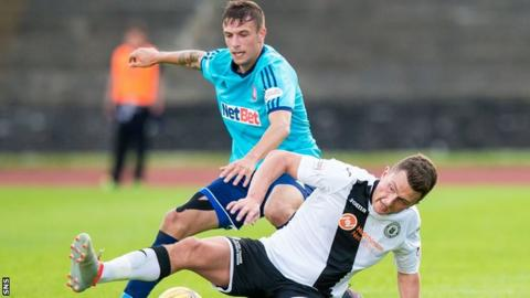 Hamilton Accies left-back Antons Kurakins (top) in action against Edinburgh City