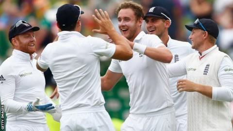 Stuart Broad celebrates one of his six second-innings wickets