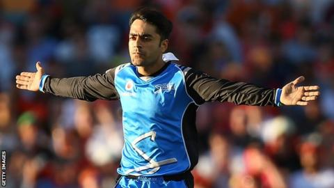 Rashid Khan celebrates taking a wicket for Adelaide Strikers