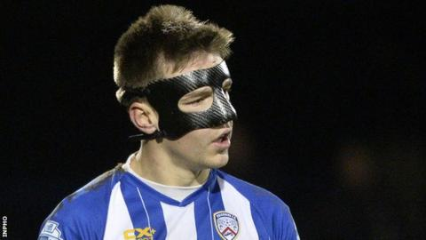Coleraine player Brad Lyons wore a bespoke carbon fibre mask in his comeback match against Crusaders