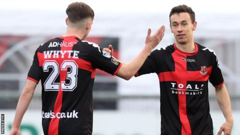 Paul Heatley (right) scored three goals for Crusaders against Carrick Rangers on 22 October