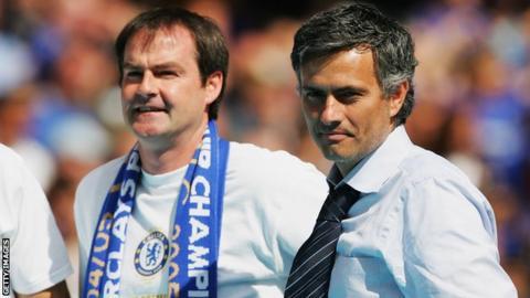 Steve Clarke and Jose Mourinho celebrate Chelsea's Premier League title victory in 2006