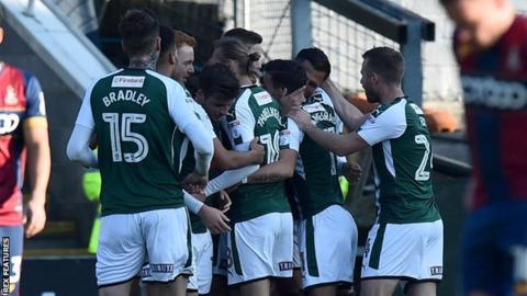 Plymouth Argyle celebrate scoring against Bradford City