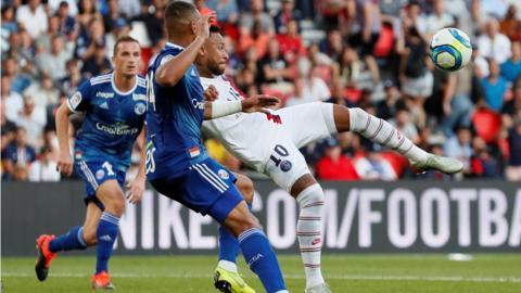Parc des Princes, Paris, France, September 14: Neymar scores Paris St Germain's first goal in the Paris St Germain v RC Strasbourg game (Photo by REUTERS/Gonzalo Fuentes).