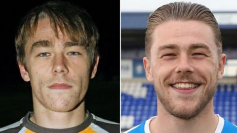 George Green when he signed for Ossett Albion in 2015 (left) and when he signed for Chester in 2018