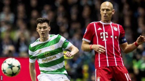 Celtic left-back Kieran Tierney and Bayern Munich's Arjen Robben