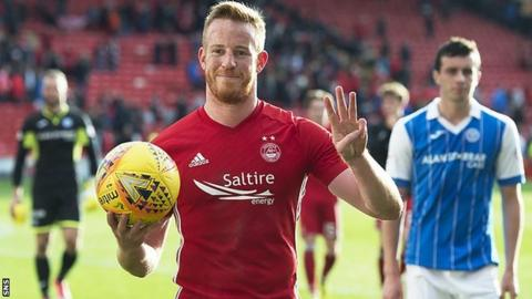 Adam Rooney scored a hat-trick for Aberdeen