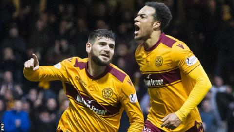 Nadir Ciftci (left) celebrates for Motherwell against Partick Thistle