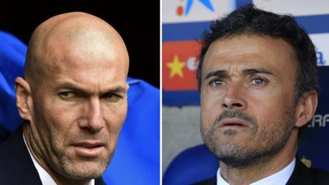 Real Madrid boss Zinedine Zidane (left) and Barcelona boss Luis Enrique