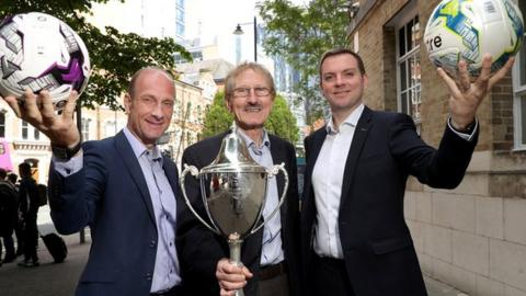 Tournament chairman Victor Leonard (centre) and BBC Sport NI's Stephen Watson and Thomas Kane announce the enhanced coverage