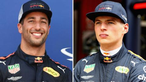 Red Bull's Daniel Ricciardo and Max Verstappen