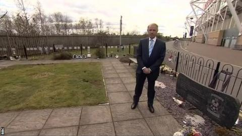 Joe Elliott in the existing memorial garden at the Ricoh Arena