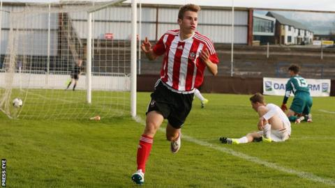 Jake Vokins celebrates scoring his second goal against Liverpool