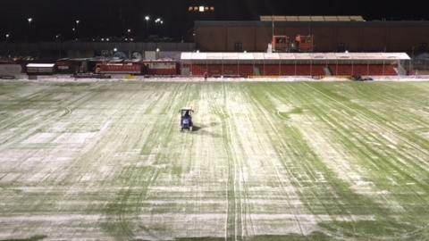 Hamilton's pitch at the SuperSeal Stadium with a covering of snow