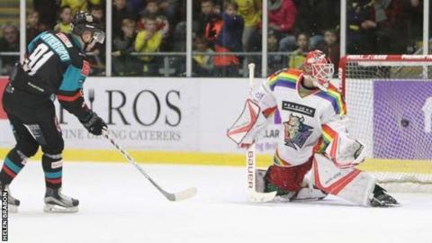David Rutherford hits the net in the shoot-out to give the Giants victory