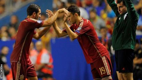 Spain's Koke and Munir El Haddadi