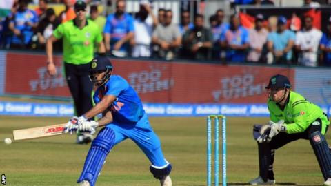Shikhar Dhawan plays a shot on his way to an impressive 74 against Ireland at Malahide