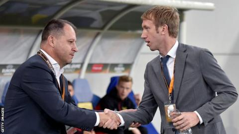 Ostersund manager Graham Potter shakes hands with Zorya head coach Iurii Vernydub before last season's Uefa Europa League Group J match