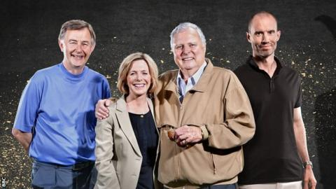 Hazel Irvine (second from left) with Ken Brown, Peter Alliss and Andrew Cotter