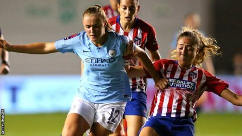 Georgia Stanway plays against Atletico Madrid in the Champions League
